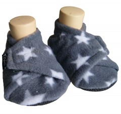 Grey star baby girl slippers