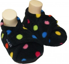 black dotty toddler boy slippers