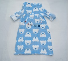 pushchair blanket white and blue teds