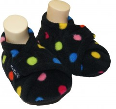 black dotty baby girl slippers