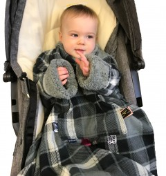 pop-on sleeved buggy / car seat blanket | swans