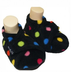 black dotty toddler girl slippers open