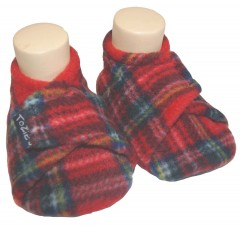 red tartan baby girl slippers