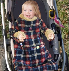 pop-on sleeved buggy / car seat blanket | tartan