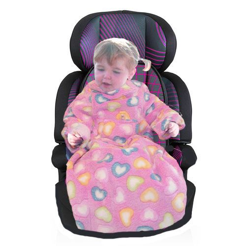 POP-ON Sleeved Buggy / Car Seat Blanket - HEARTS 0-1 year only